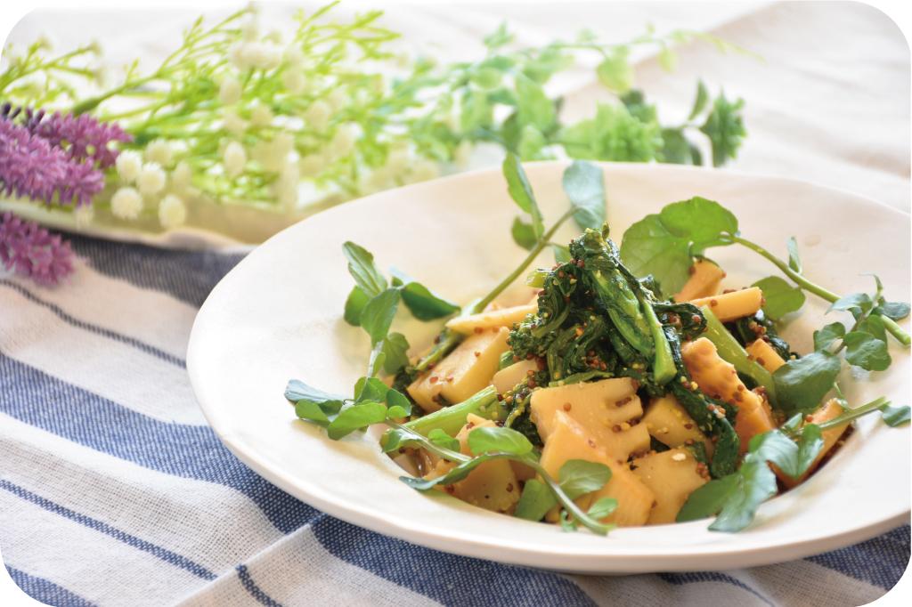 筍と菜の花の粒マスタードバルサミコ炒め煮の完成写真