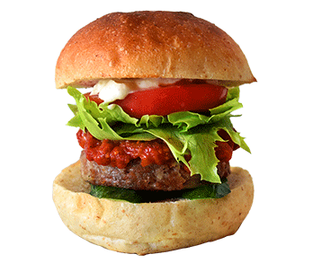 ベジカフェ フルウント コウフのハンバーガーの写真