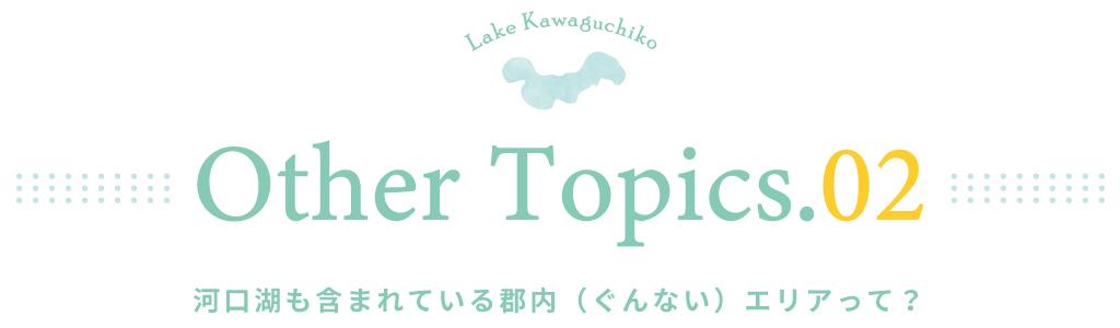 other topics.02 河口湖も含まれている郡内(ぐんない)エリアって?
