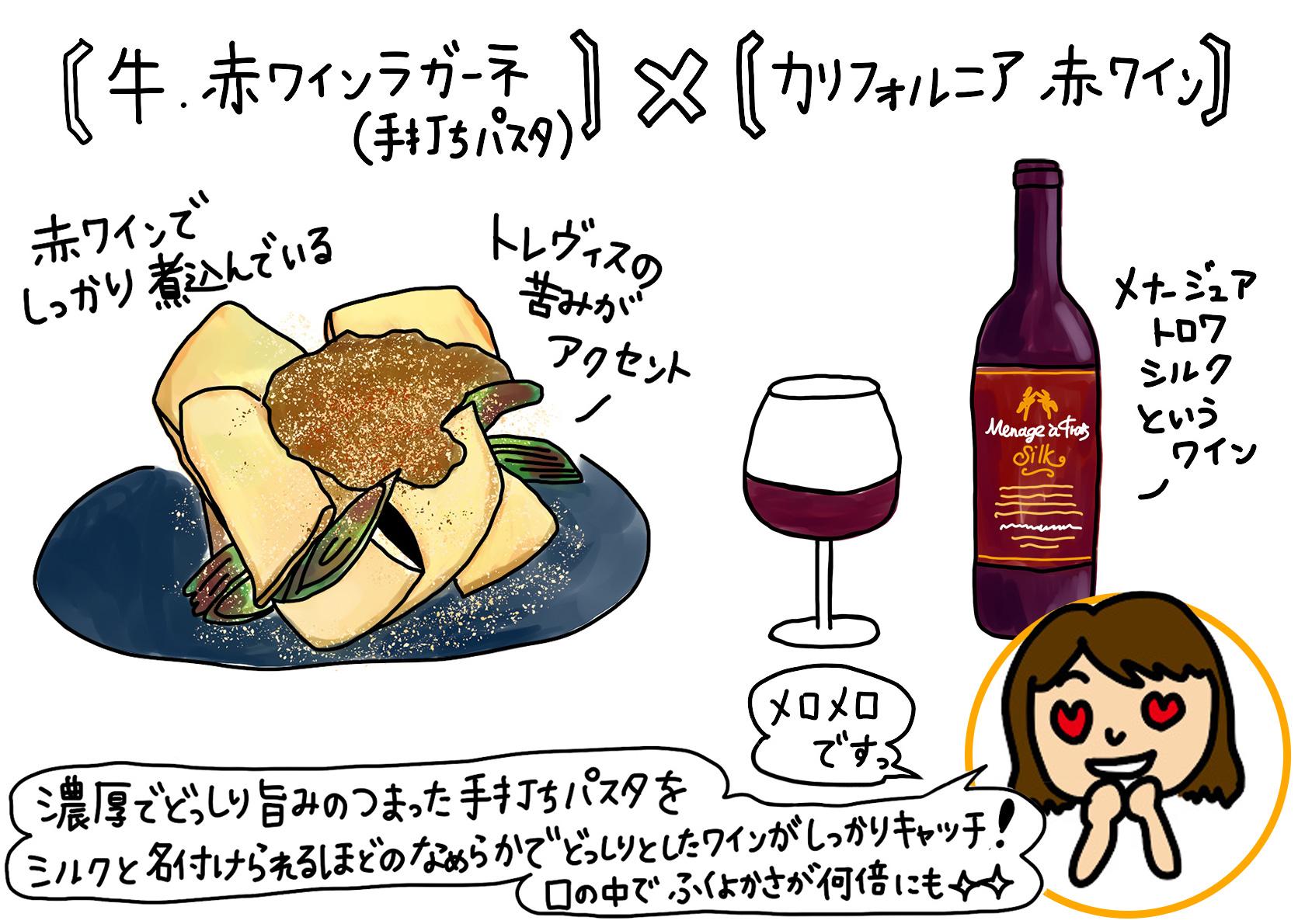 牛・赤ワインラガーネ×カリフォルニア赤ワイン