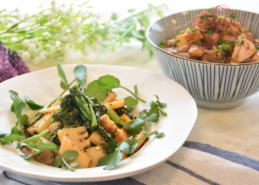 筍と菜の花の粒マスタードバルサミコ炒め煮&麻婆たけのこレシピメインイメージ