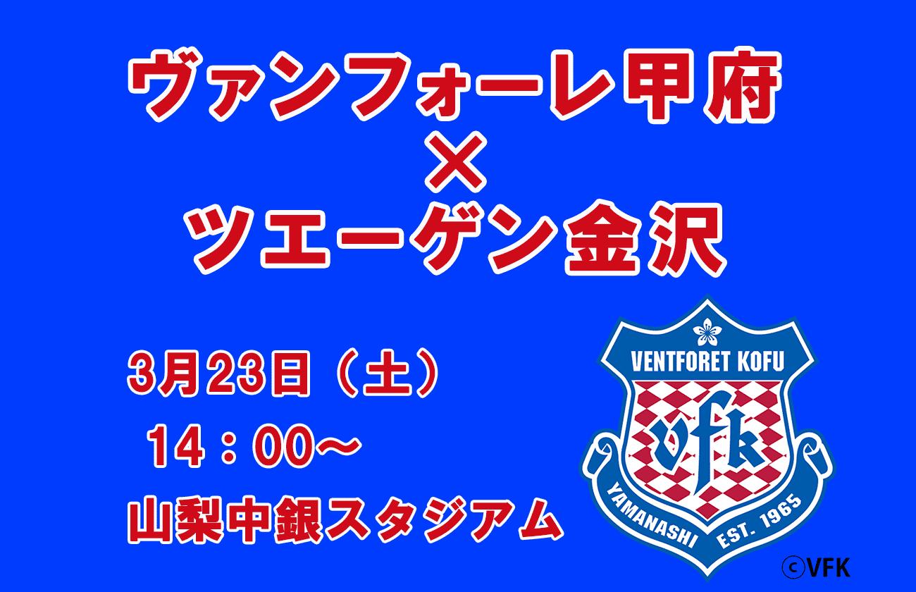 ヴァンフォーレ甲府vsツエーゲン金沢3/23(土)   観戦ペアチケット