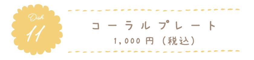 コーラルプレート 1,000円(税込)