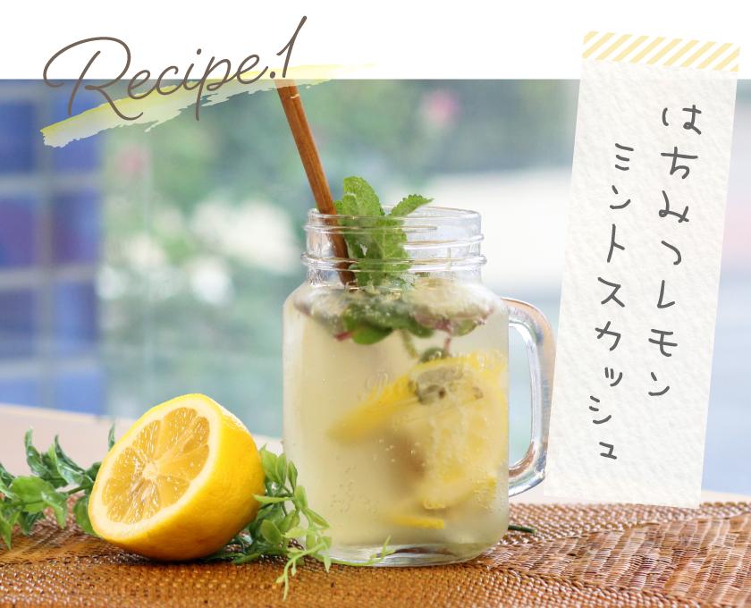レシピ1 はちみつレモンミントスカッシュ