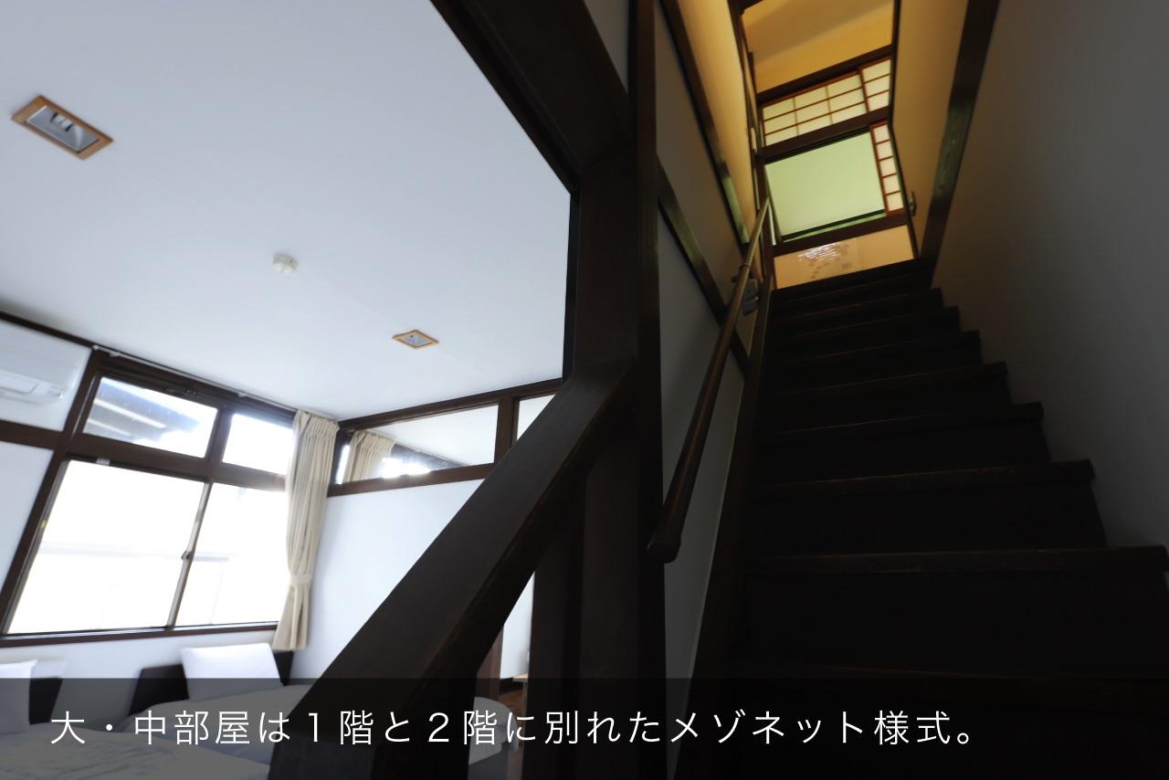 大・中部屋は1階と2階に別れたメゾネット様式。