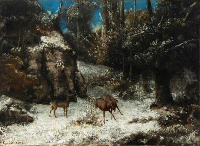 ギュスターヴ・クールベ 《雪の中の鹿のたたかい》