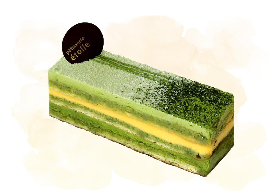 パティスリーエトワールのケーキ「抹茶のマンゴーのオペラ」